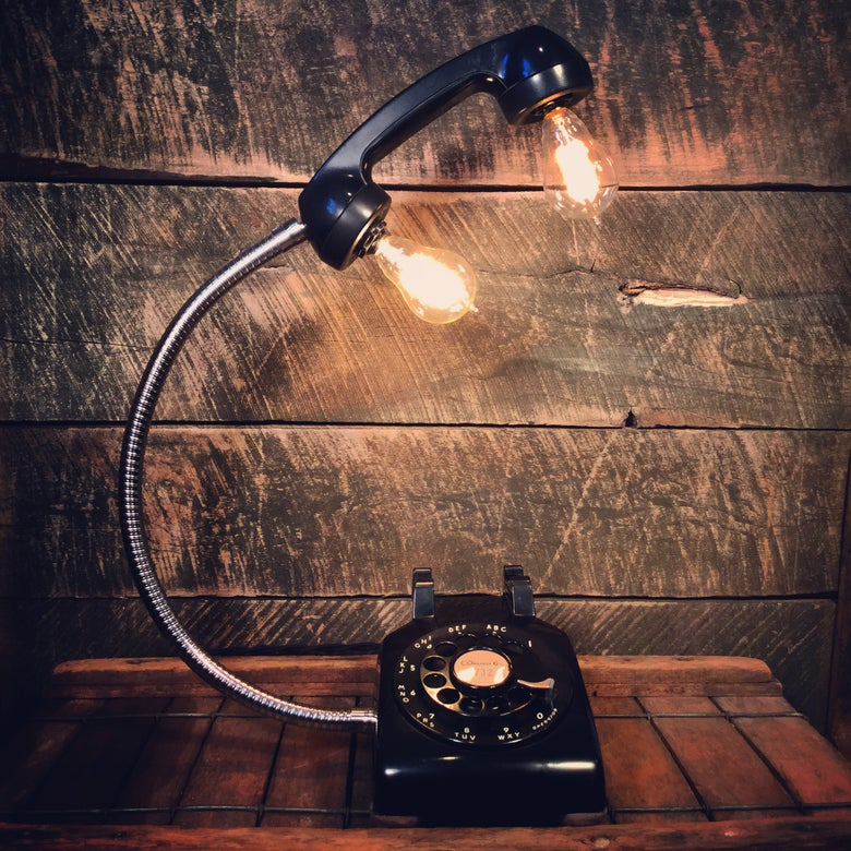 Image of Vintage Black Rotary Phone Lamp