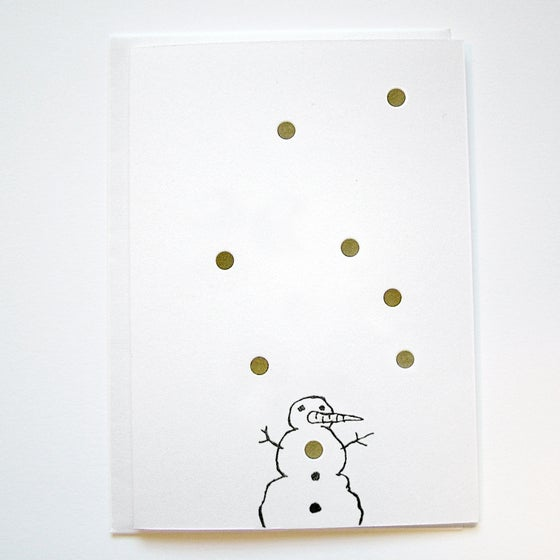 Image of GOLDIE 'SNOWMAN' - LETTERPRESS CHRISTMAS CARD - 'NEW!""