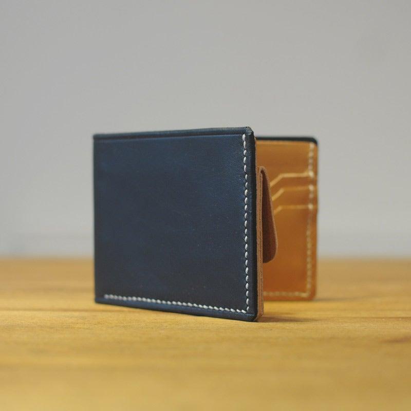 Image of Premium Coin Bi-Fold Wallet - Midnight Blue & Cashew