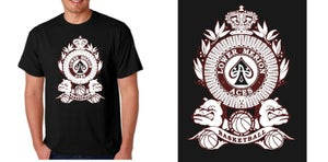 "Image of Aces ""Family Crest"" Logo Black Tee"