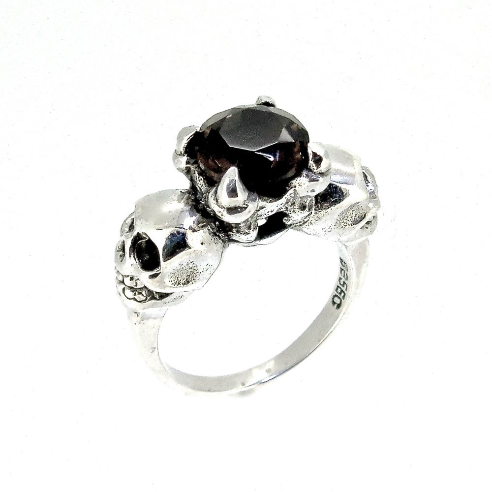 Image of Sterling Silver & Smokey Quartz 'Till Death' Ring