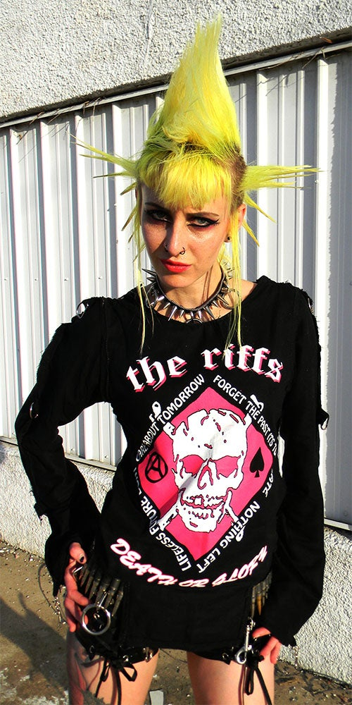 Image of The Riffs black w/white&pink bondage shirt