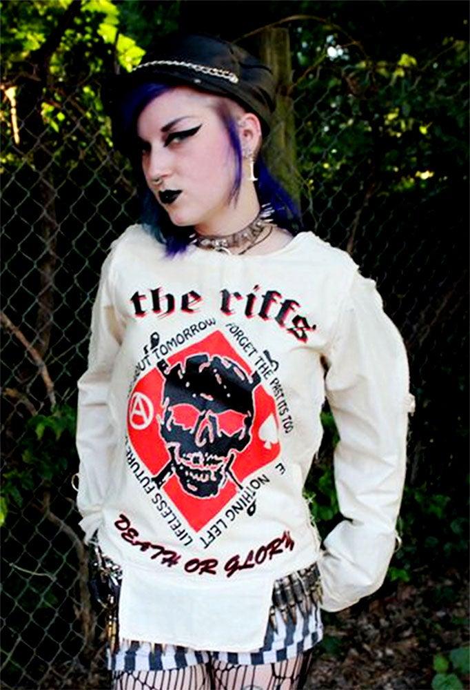 Image of The Riffs white w/black&red bondage shirt