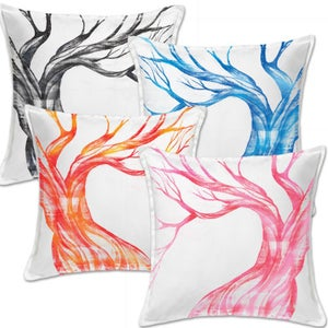Image of Custom Painted Tree Throw Pillow Cover -  White