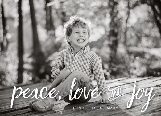 Image of Peace, Love, and Joy Script Holiday Card