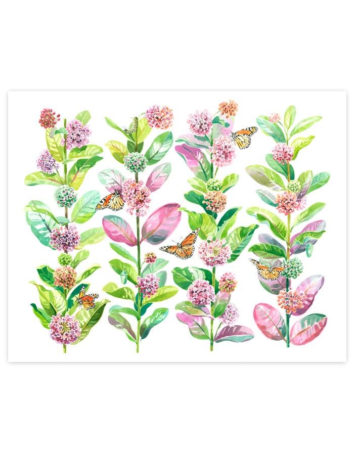 Image of Monarchs & Milkweed Giclée Art Print #2