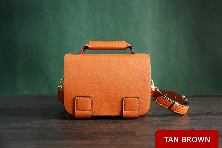 Image of Custom Handmade Italian Vegetable Tan Brown Leather Satchel Bag, Messenger Bag, Shoulder Bag D002