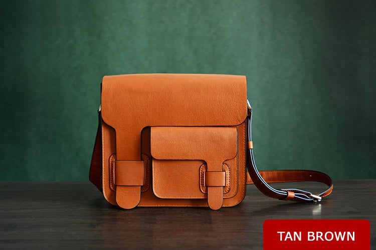 Image of Custom Handmade Itanlian Vegetable Tanned Leather Satchel, Messenger Bag, Shoulder Bag, Men Bag D003