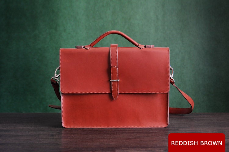 Image of Custom Handmade Genuine Leather Briefcase, Messenger Bag, Laptop Bag, Men's Handbag D012