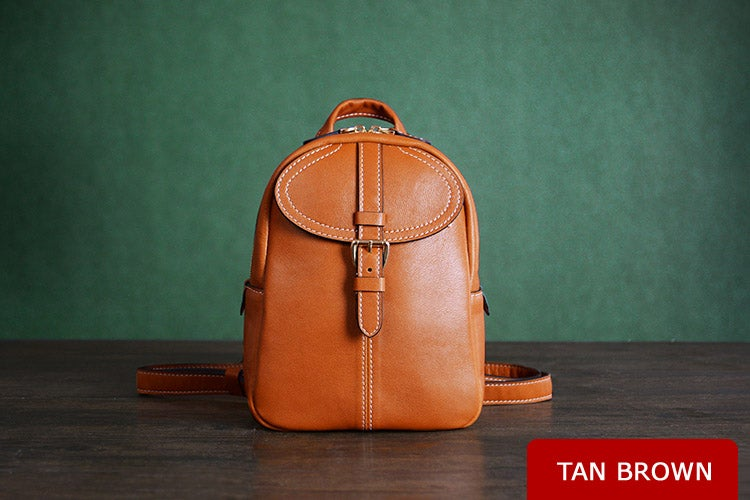 Image of Custom Handmade Vegetable Tanned Brown Leather Backpack, Shoulder Bag, Satchel Bag D009