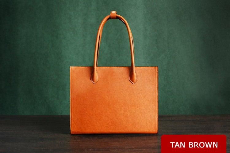 Image of Custom Handmade Italian Vegetable Tanned Leather Tote Bag, Shoulder Bag, Lady Handbag D010