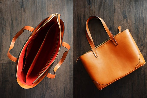 Image of Custom Handmade Italian Vegetable Tanned Leather Tote Bag, Shoulder Bag, Lady Handbag D011