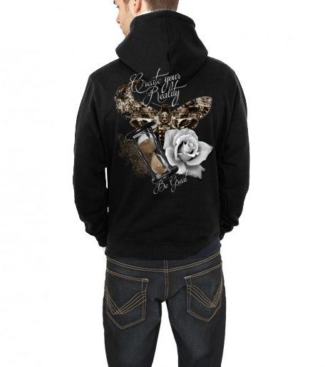 Image of Unisex sweatshirt hoodie: Create your reality (moth, hourglass, rose)