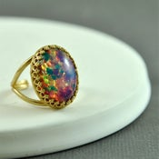 Image of Anouk - Pink and Blue Fire Opal Ring