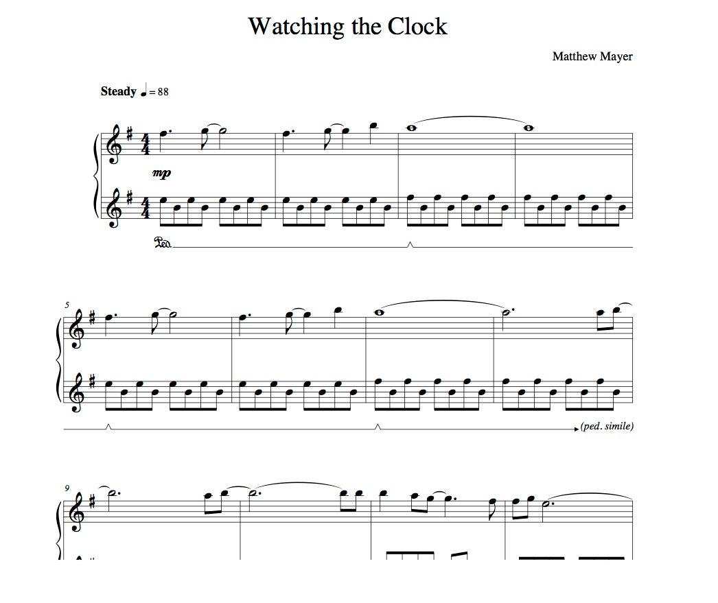 worksheet Clock Sheet new watching the clock sheet music matthew mayer solo piano music
