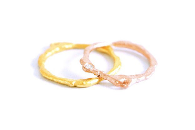 image of basalte wedding rings set in fairmined red and yellow gold 18k with diamond - Wedding Rings Yellow Gold