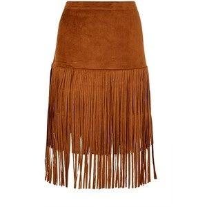 Image of Brown Fringe Skirt