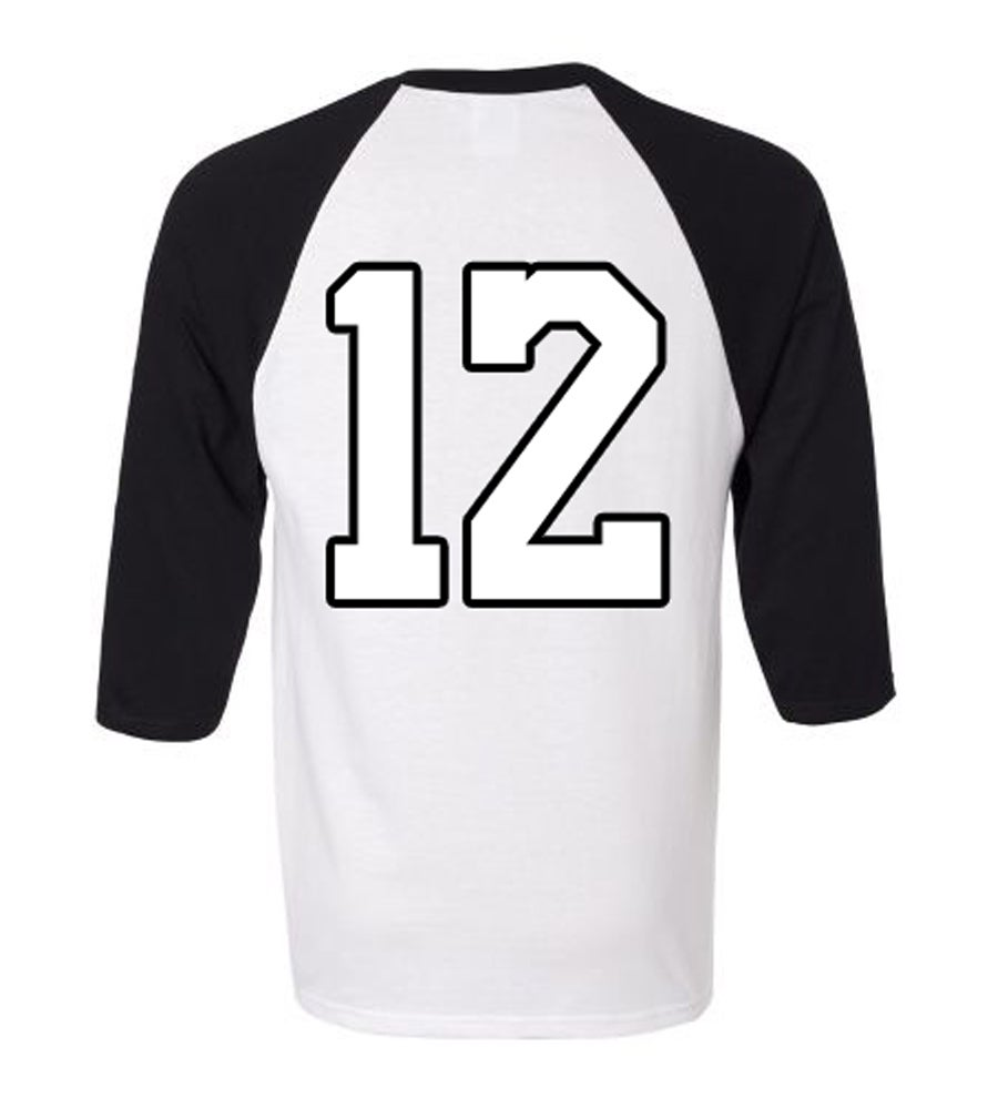 Image of 3/4 SLEEVE BASEBALL T-SHIRT (WHITE/BLACK)