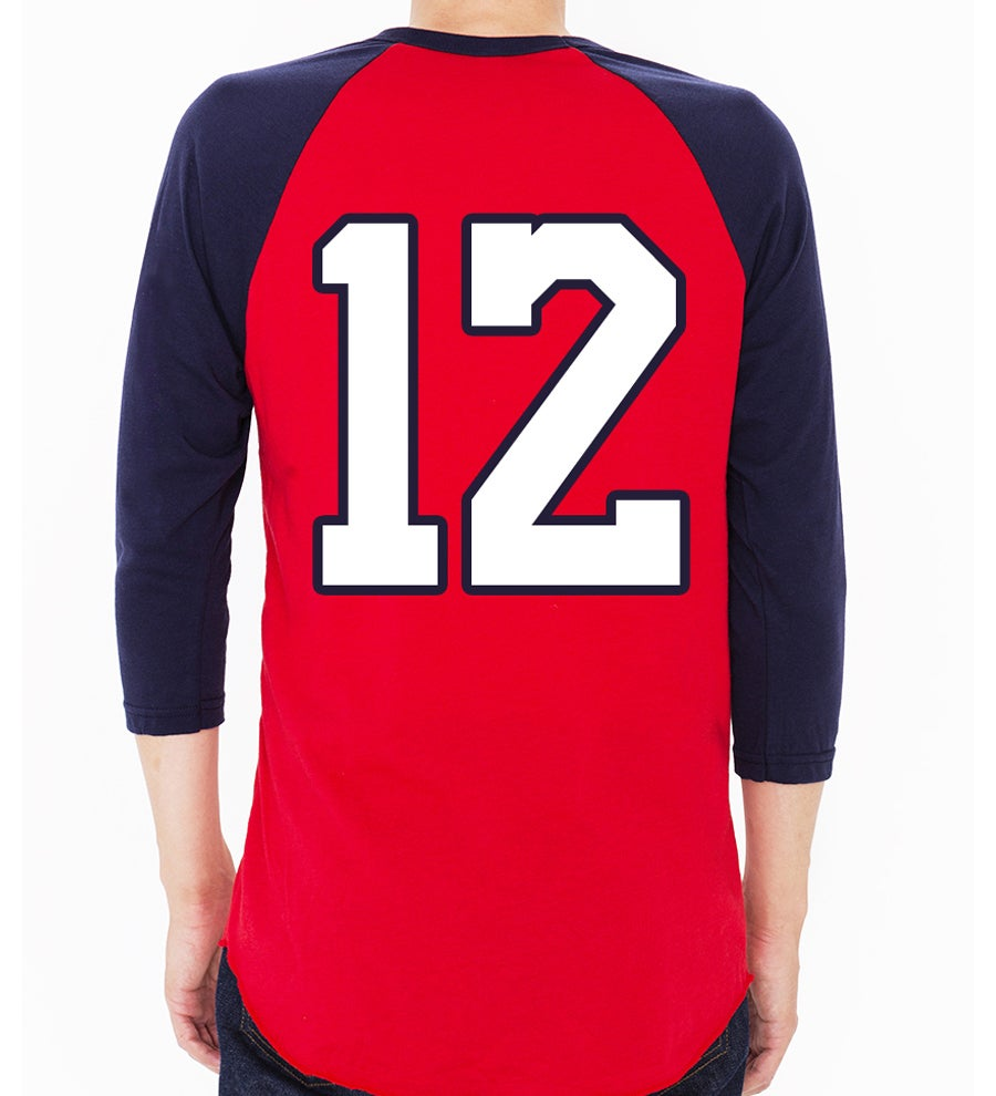 Image of 3/4 SLEEVE BASEBALL T-SHIRT (RED/NAVY)