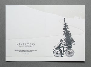 Image of Evergreen 'Tree Bike' - Letterpress Christmas card