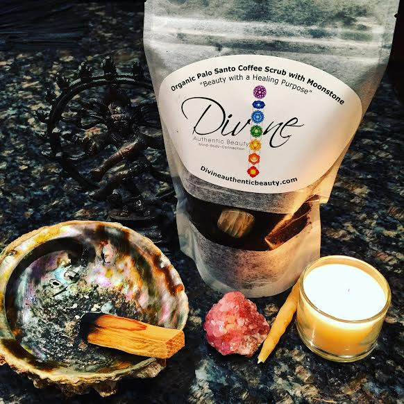 Image of Organic Palo Santo Coffee Sugar Scrub with healing Moonstone Crystal