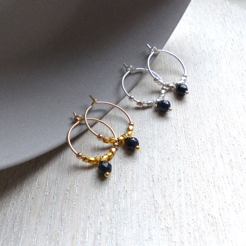 Image of Petite Blue Gold Stone And Fair Trade Hoops