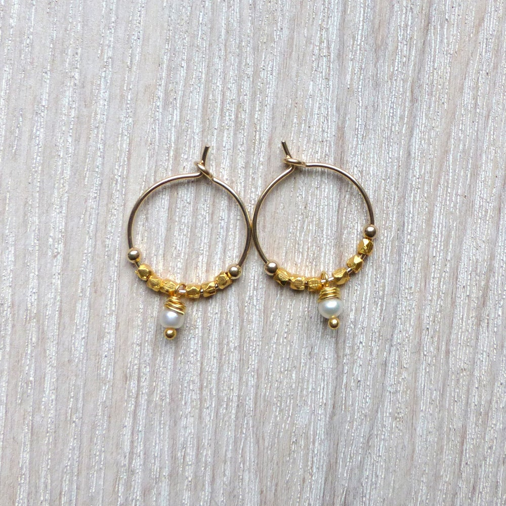 Image of Petite Fair Trade And Freshwater Pearl Hoops