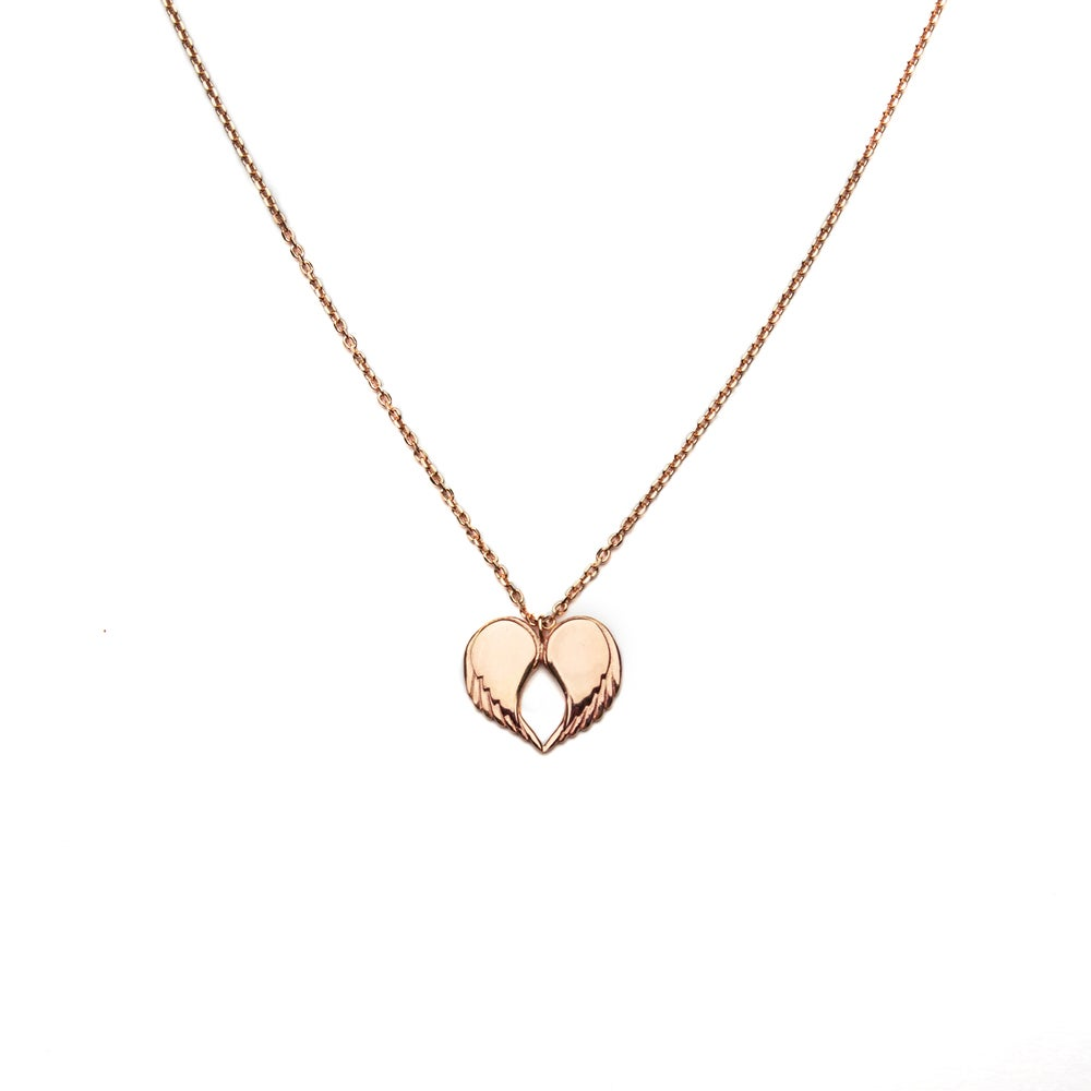 """Image of Angel Love Pendant - 18ct Rose Gold Plated 18"""" or 30"""" Chain"""