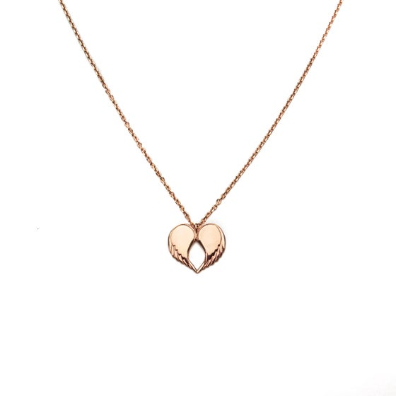 """Image of Angel Love Pendant - SHORT 18ct Rose Gold Plated 18"""" Chain"""