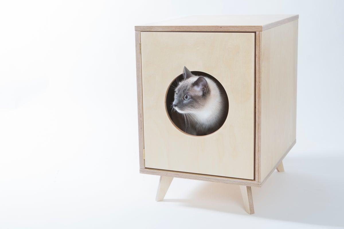 cat litter box cabinet  pet house juno  black velvet -