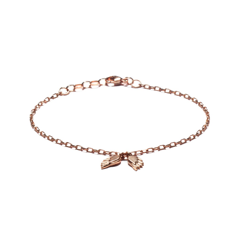 Image of Angel Wing Chain Bracelet - 18ct Rose Gold Plated
