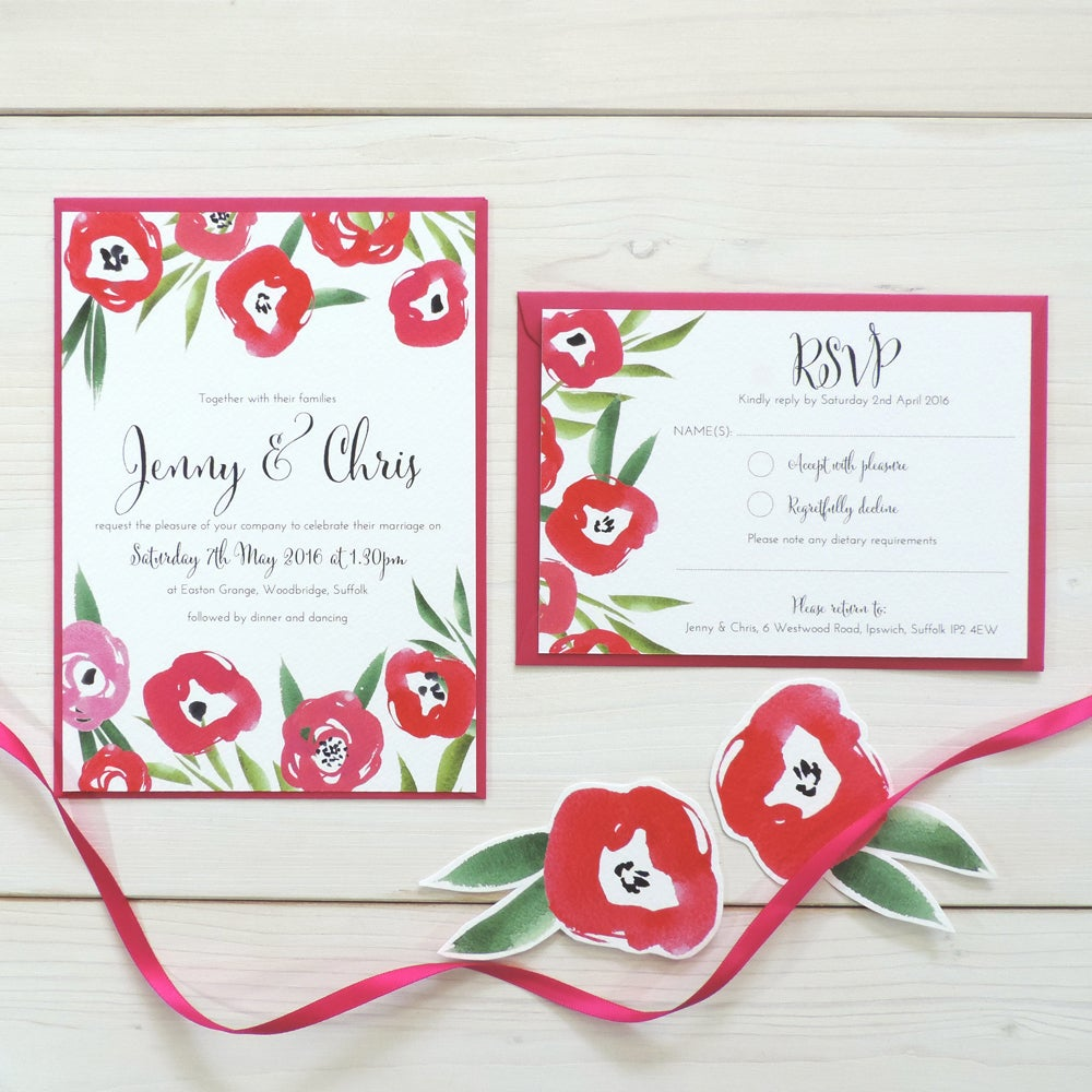 Image of Passion Bloom Bespoke Wedding Invitation and RSVP Personalised Bundle