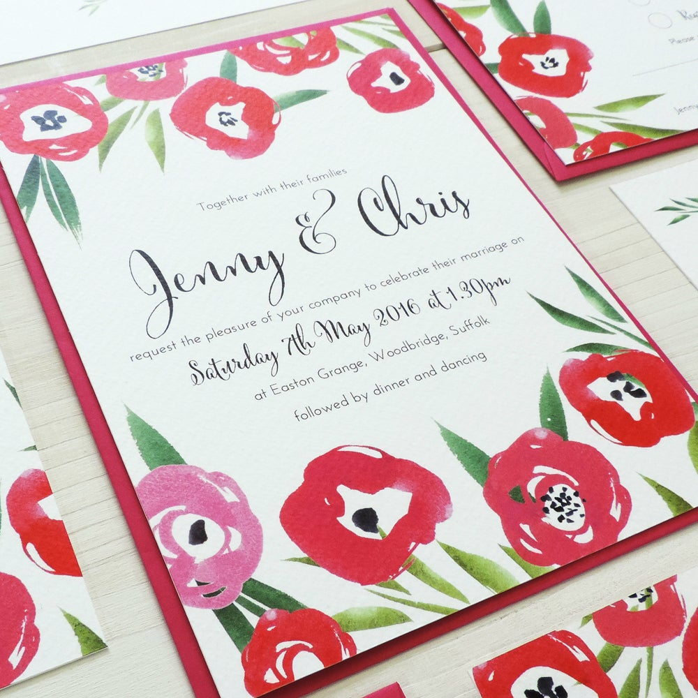 Image of Passion Bloom Wedding Invitation and RSVP with Personalised Belly Band