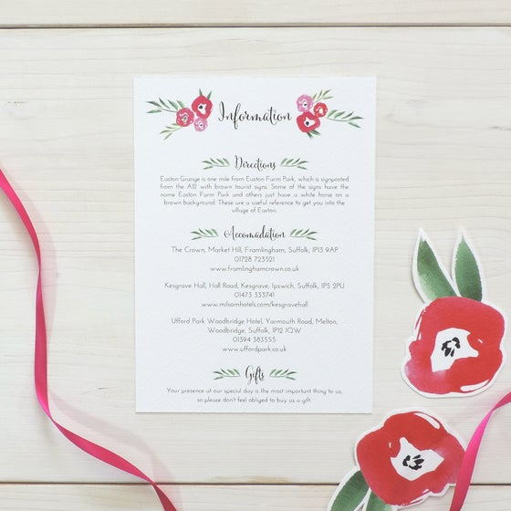 Image of Passion Bloom Bespoke Wedding Information Card