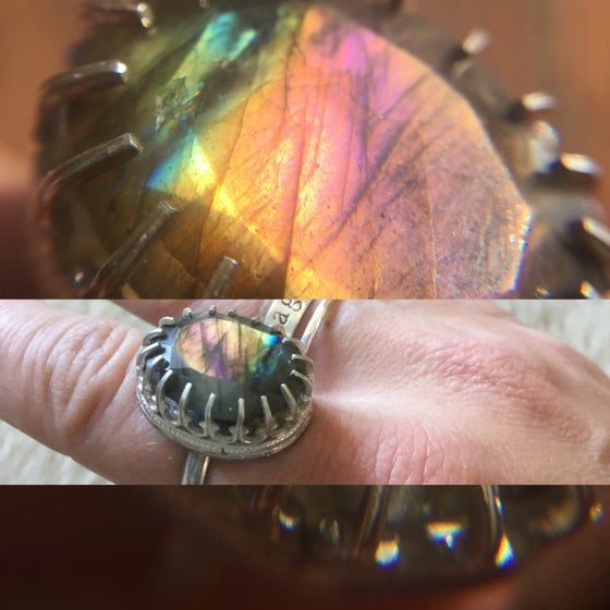 Image of Faceted Labradorite Ring