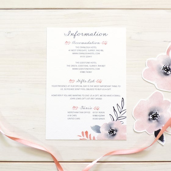 Image of Sweet Posey Bespoke Wedding Information Card