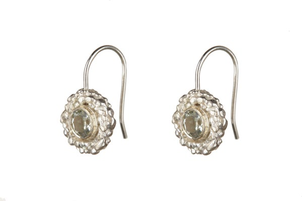 Image of Sterling silver Stark hook earring with sky blue topaz
