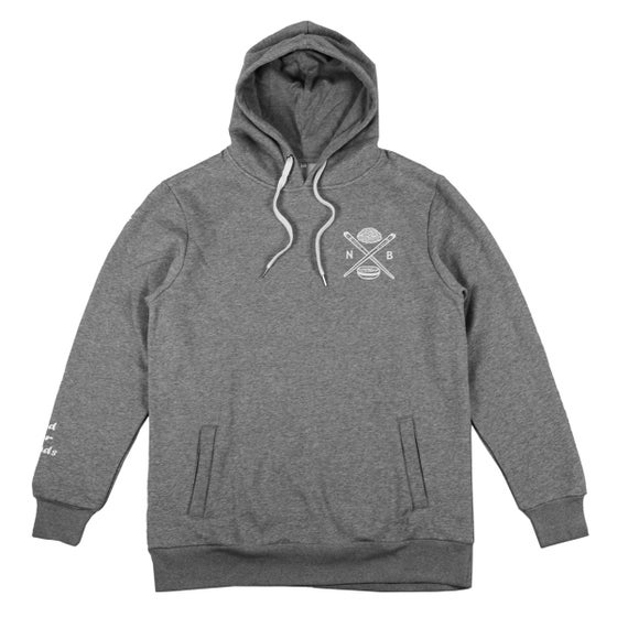 Image of Bowl N' Cross Long Line Hoodie (Grey)