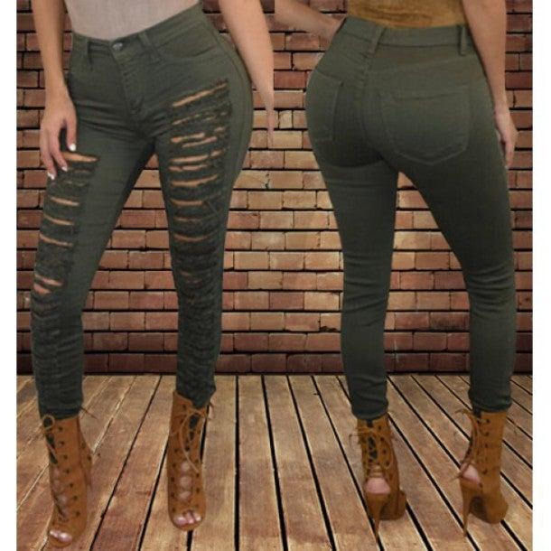 Image of FASHION HOLE JEANS FEET PANTS STRETCH PANTS