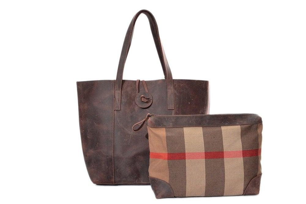 Image of Handcrafted Vintage Crazy Horse Leather Women Tote Bag, Shopping Bag, Shoulder Bag YD006