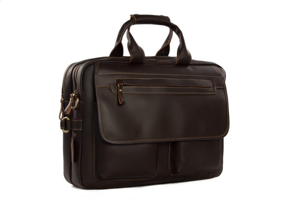 Image of 15'' Handmade Genuine Cow Leather Briefcase / Laptop Bag / Men's Handbag 8951