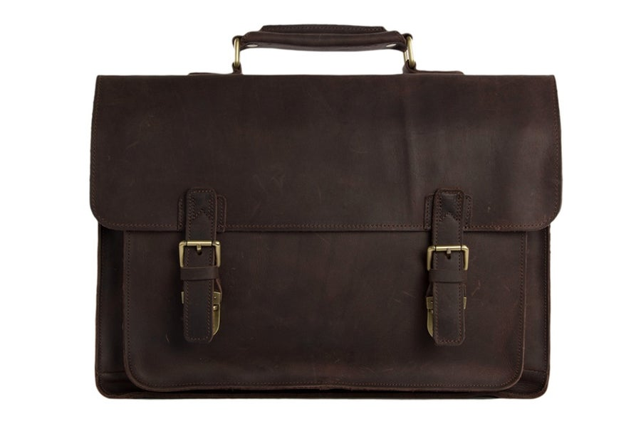 Image of 15'' Handmade Vintage Genuine Leather Briefcase Messenger Bag Laptop Bag Men's Handbag 7205