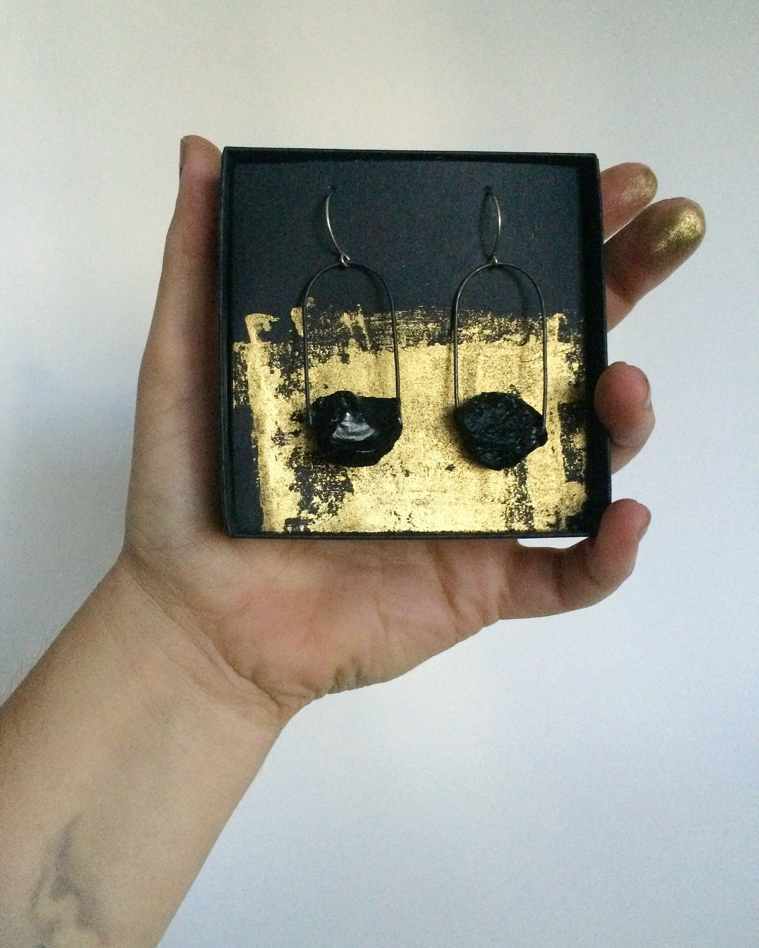 Image of Cosmic loop. Tektite and steel earrings