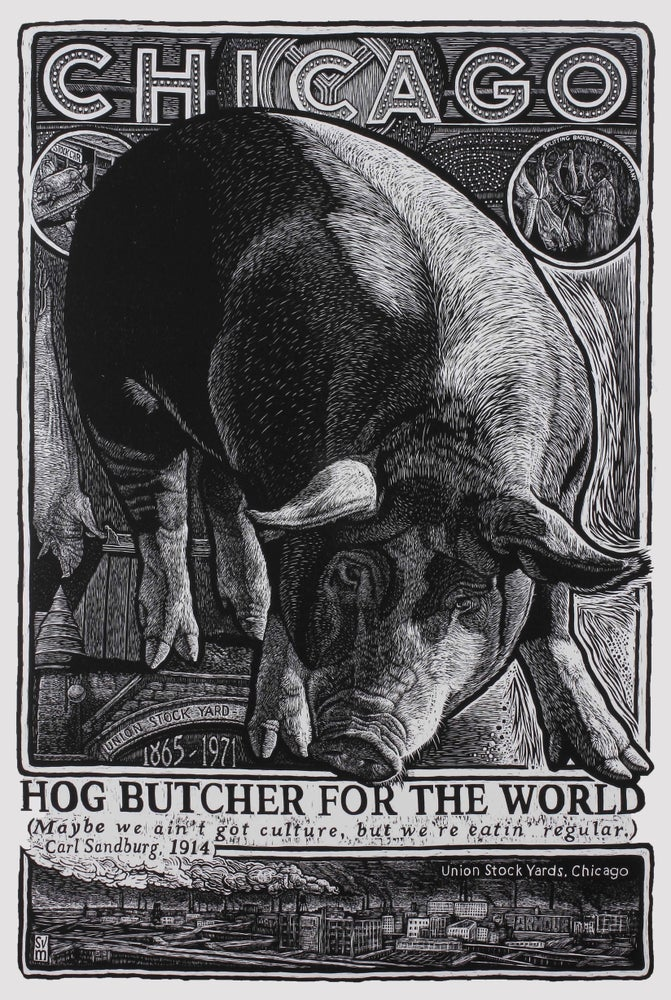 """Image of """"Hog Butcher to the World"""" woodcut by S.V. Medaris"""