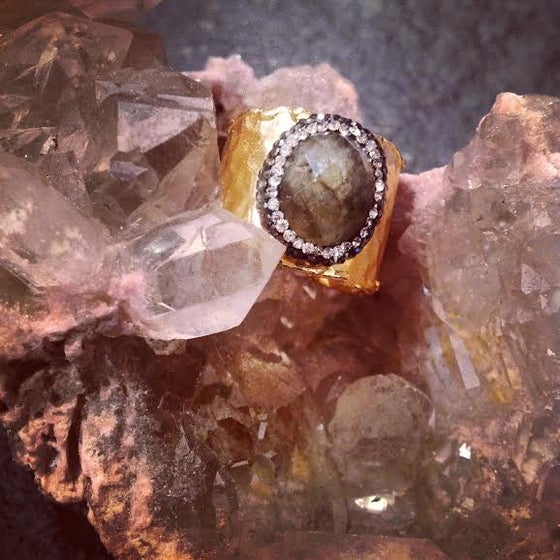 Image of Hematite Encrusted Labradorite in a Hammered Gold Plated adjustable setting