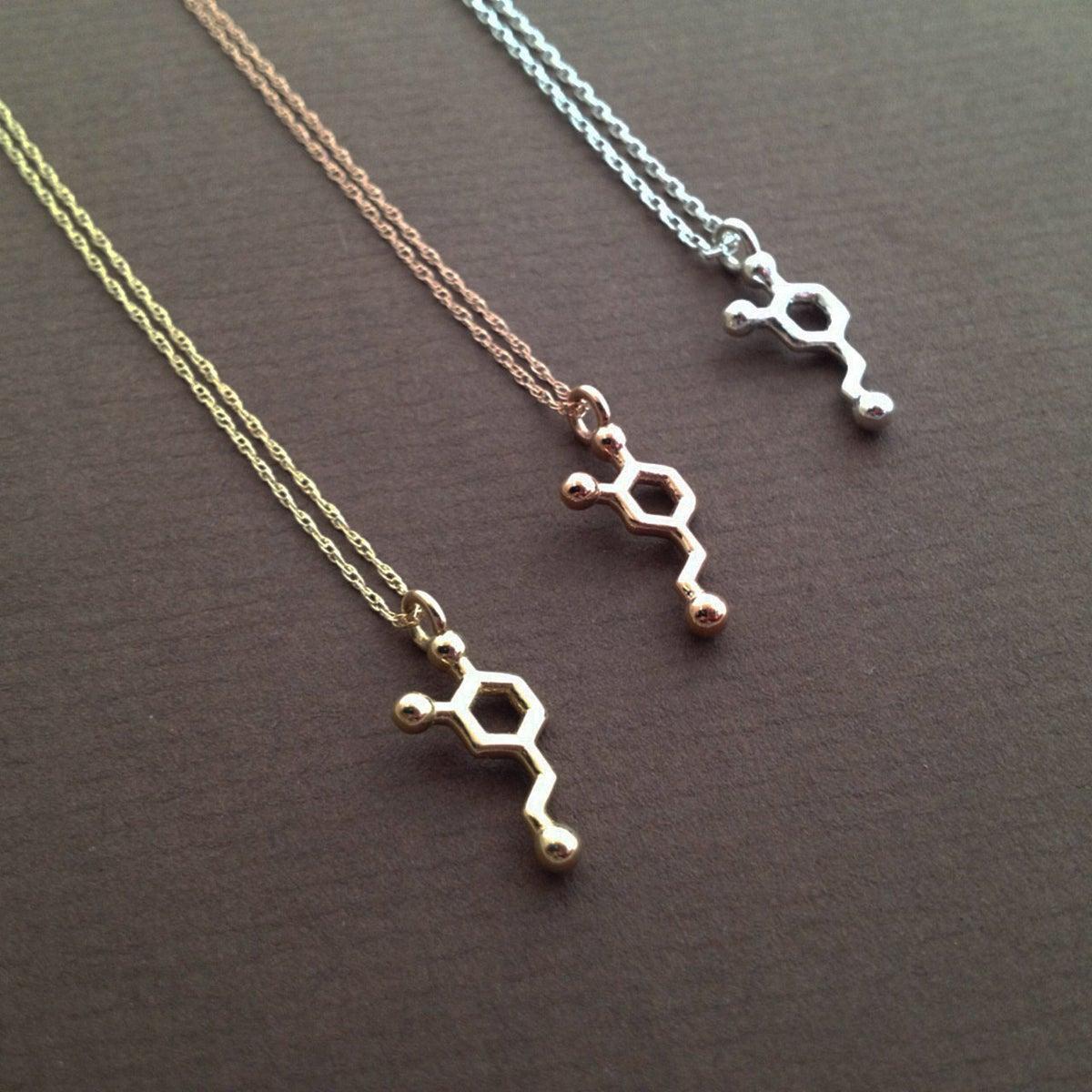 Dopamine Molecule Necklace: Tiny Dopamine Necklace
