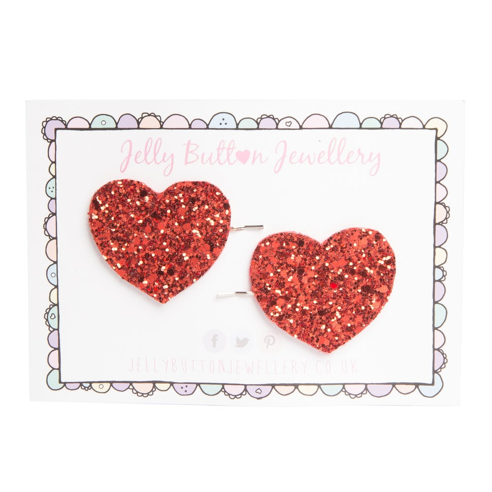 Image of Glitter Heart Hair Slides