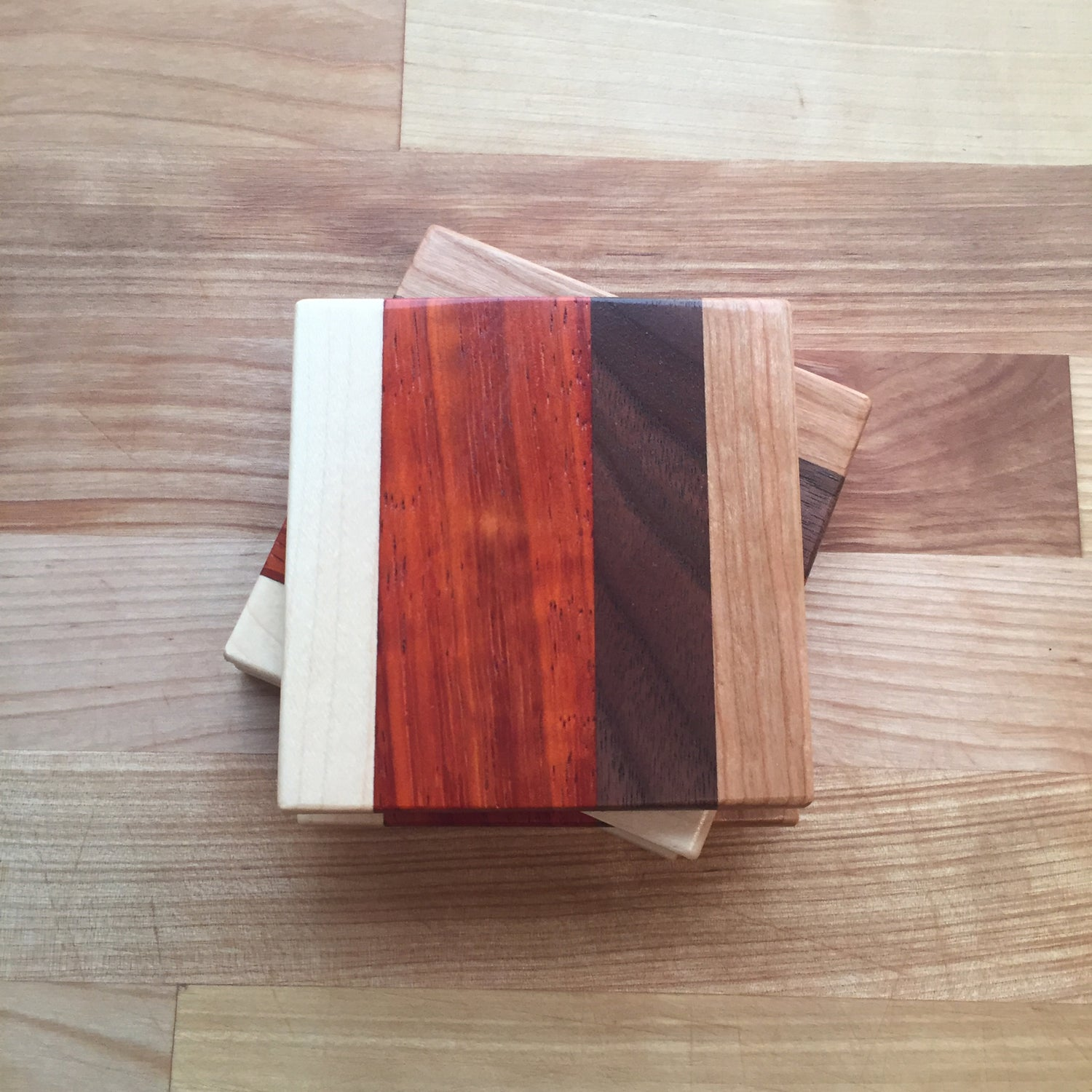 Image of Cherry, maple, walnut, & padauk coaster pack