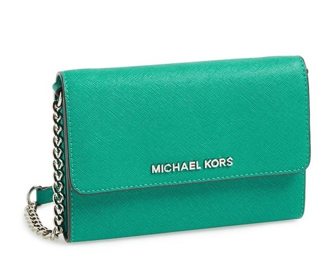 Image of MICHAEL Michael Kors Saffiano Leather Crossbody Bag Aqua