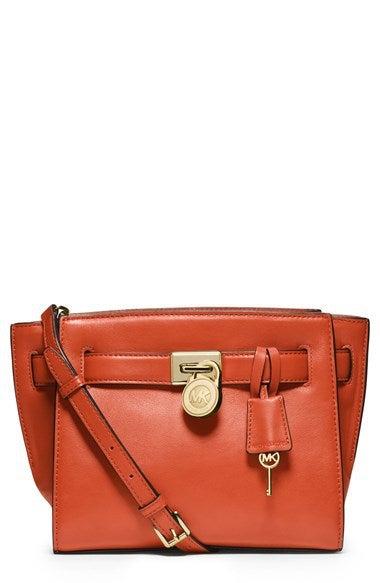 Image of MICHAEL Michael Kors 'Hamilton - Traveler' Leather Messenger Bag - ORANGE